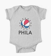 Retro Philadelphia Basketball  Short Sleeve Baby One-Piece