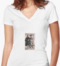 Abstract Constructivism Bauhaus Women's Fitted V-Neck T-Shirt
