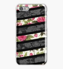 Pink, Black, and White Floral Print Swish  iPhone Case/Skin