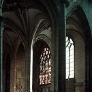 Stained Glass windows in side chapel c12+ St Stephens Beauvais France 19840827 0063  by Fred Mitchell