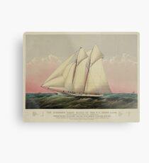 Vintage Schooner Yacht Illustration (1870) Metal Print