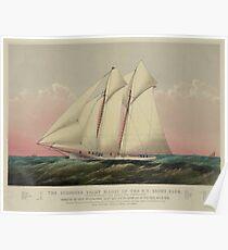 Vintage Schooner Yacht Illustration (1870) Poster