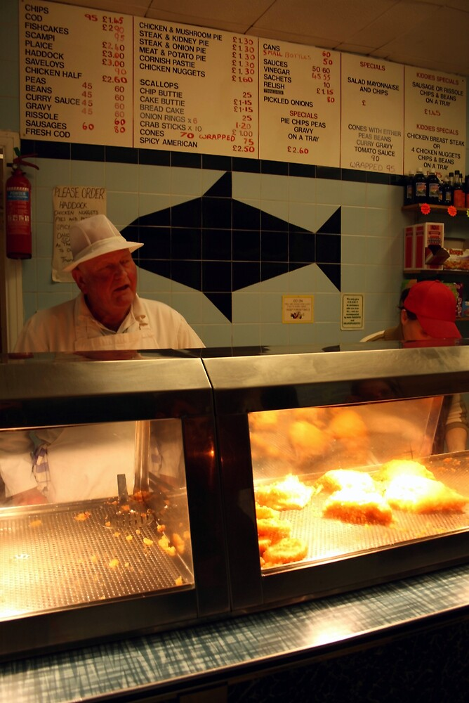 Sheffield Chip Shop interior with Owner by Andrew Moughtin-Mumby
