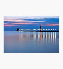 Grand Haven Michigan Pier Lights at Night Photographic Print