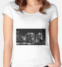 Sydney City Skyline B&W Women's Fitted Scoop T-Shirt
