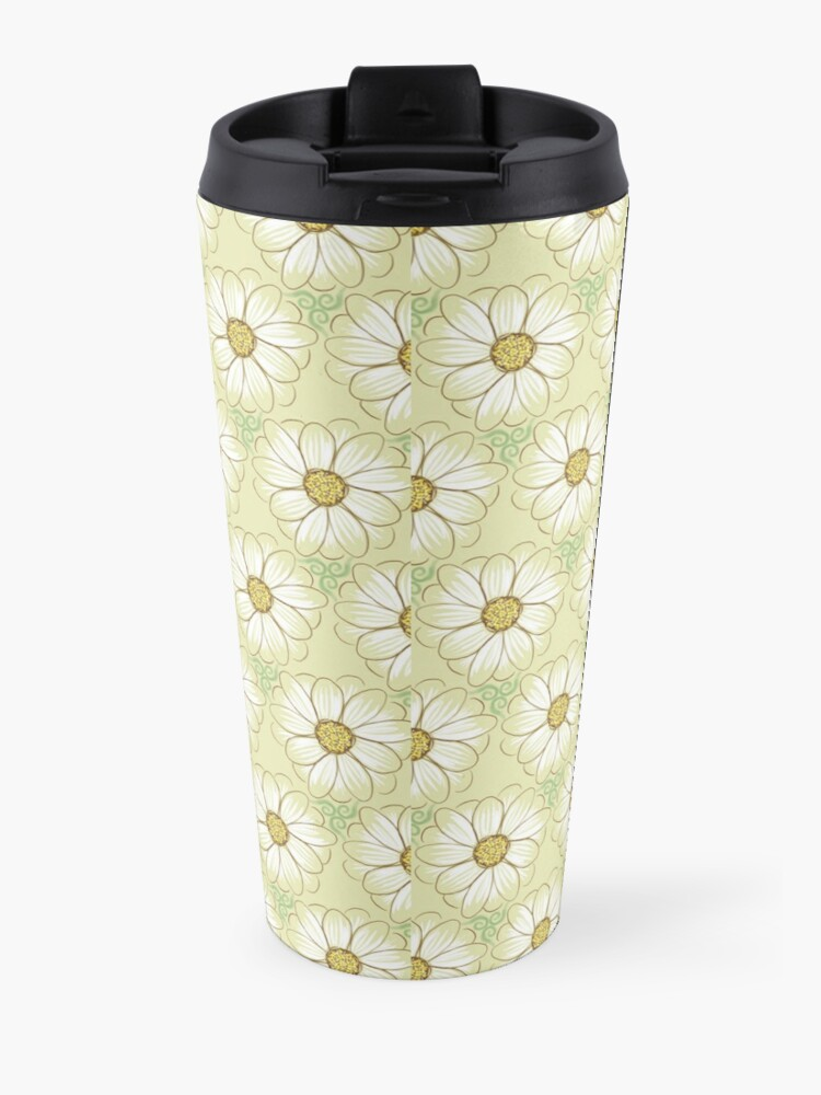 Alternate view of Doodle Daisies Cream Pattern Travel Mug