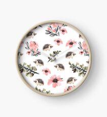 Hedgehog Florals Clock