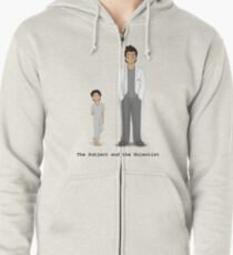 The Subject and the Scientist (Hopeful Look) Zipped Hoodie