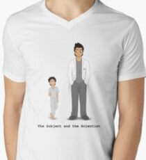 The Subject and the Scientist (Hopeful Look) Men's V-Neck T-Shirt