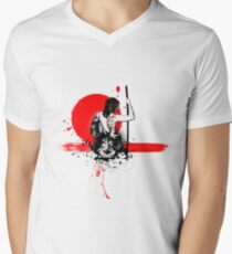 Trash Polka - Female Samurai Men's V-Neck T-Shirt