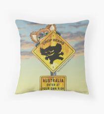 Drop Bear Australia Sign Throw Pillow