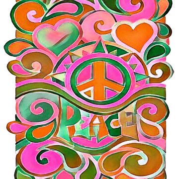 Green and Orange Hippy Peace Sign by Alondra