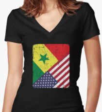 Senegal American Flag Apparel Women's Fitted V-Neck T-Shirt