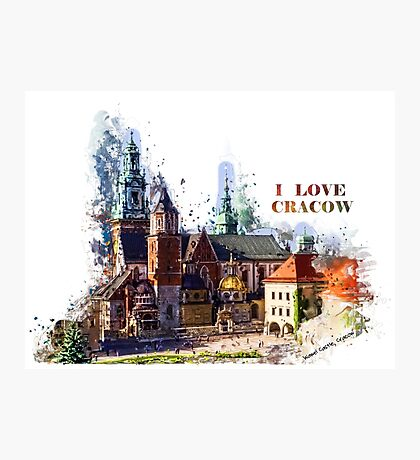 I love Cracow Wawel Castel Photographic Print