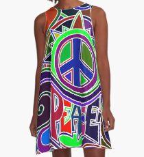 Buntes Hippie-Friedenszeichen A-Linien Kleid