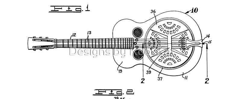 Resonator Dobro Guitar Patent Drawing Design By Framerkat