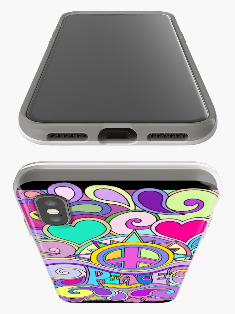 Alternate view of Psychedelic Hippy Retro Peace Art iPhone Cases & Covers