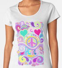 Psychedelic Hippy Retro Peace Art Women's Premium T-Shirt