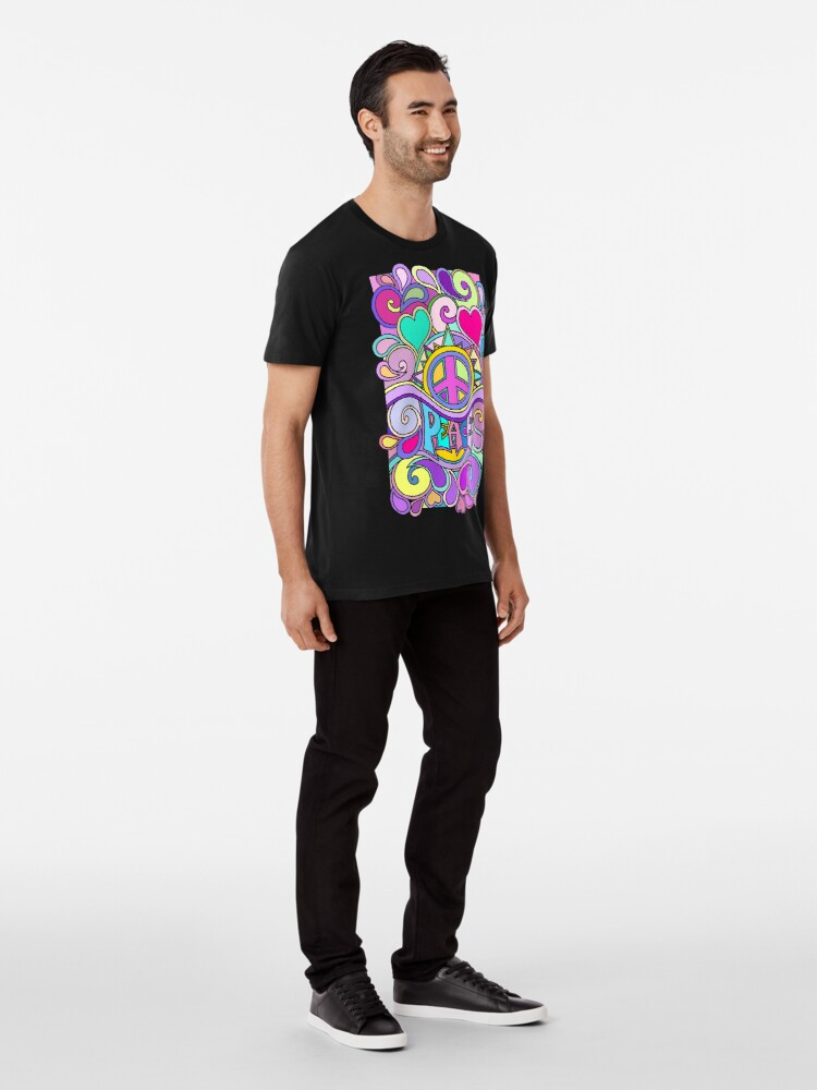 Alternate view of Psychedelic Hippy Retro Peace Art Premium T-Shirt