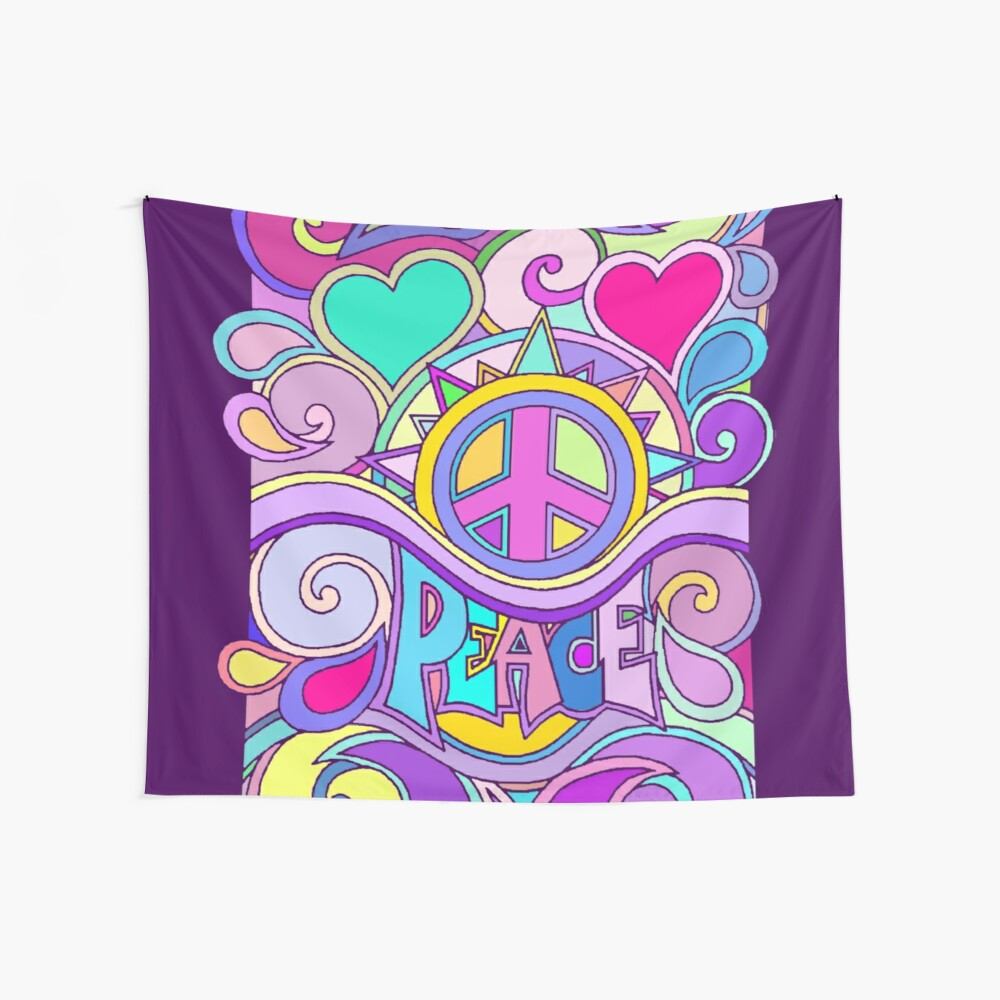 Psychedelic Hippy Retro Peace Art Wall Tapestry
