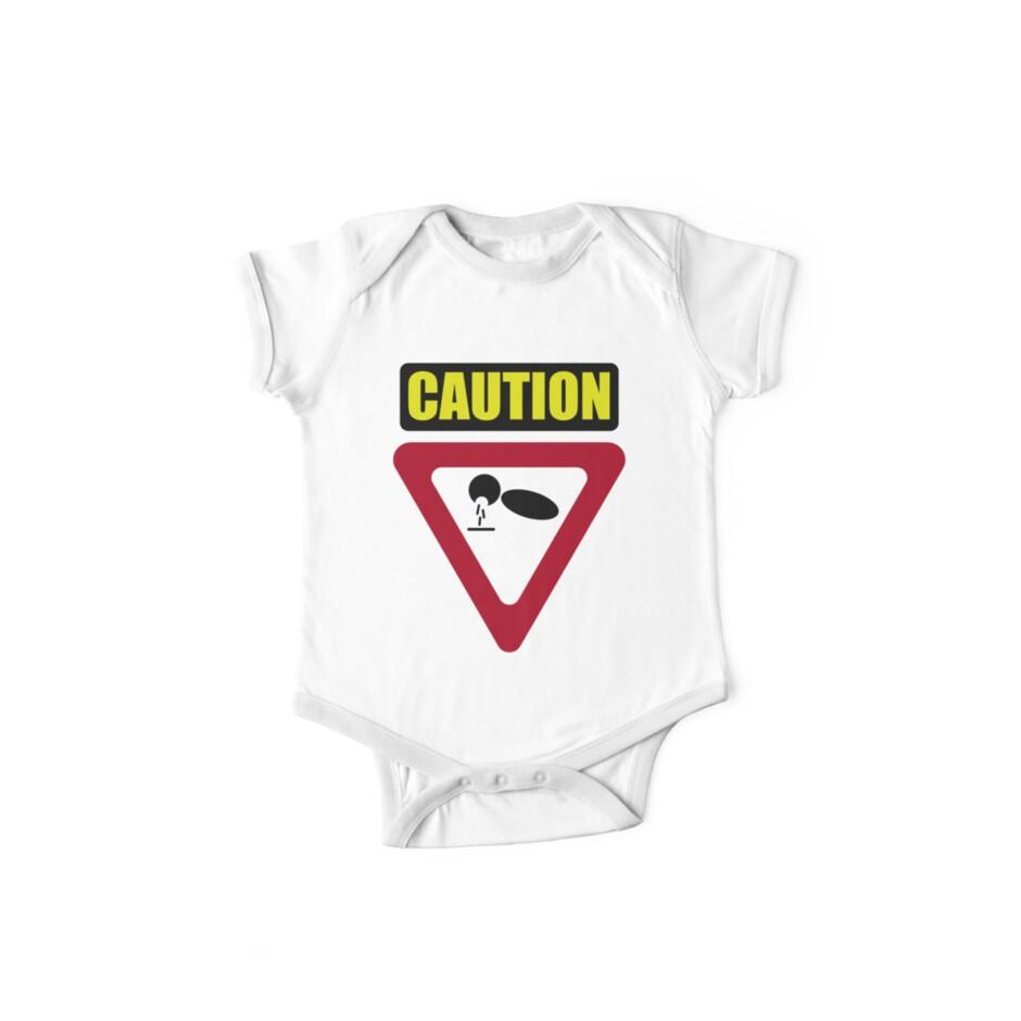 Baby Puke Caution Funny Onesie by Nick G