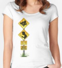 Drop Bear Sign Look Up Women's Fitted Scoop T-Shirt
