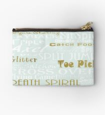 Pastel Blue with Gold Accents Figure Skating Subway Style Typographic Design Studio Pouch