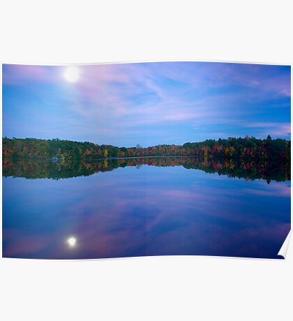 Green Falls Pond Moonrise Poster