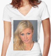Paris Hilton Women's Fitted V-Neck T-Shirt