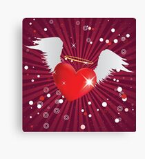 Shiny heart with angel wings Canvas Print
