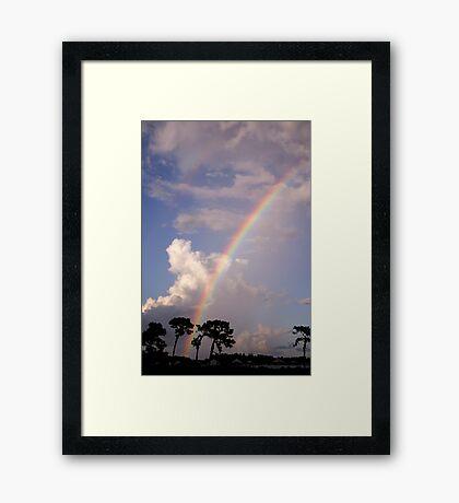 Rainbow & Rain Framed Print