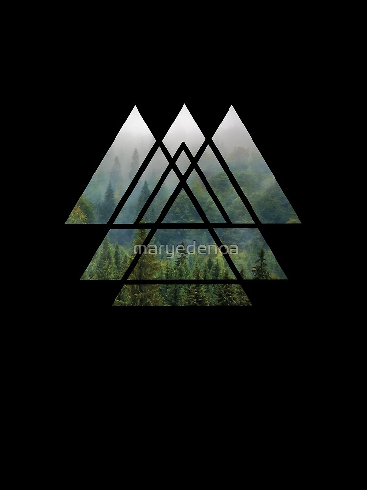 Sacred Geometry Triangles - Misty Forest by maryedenoa