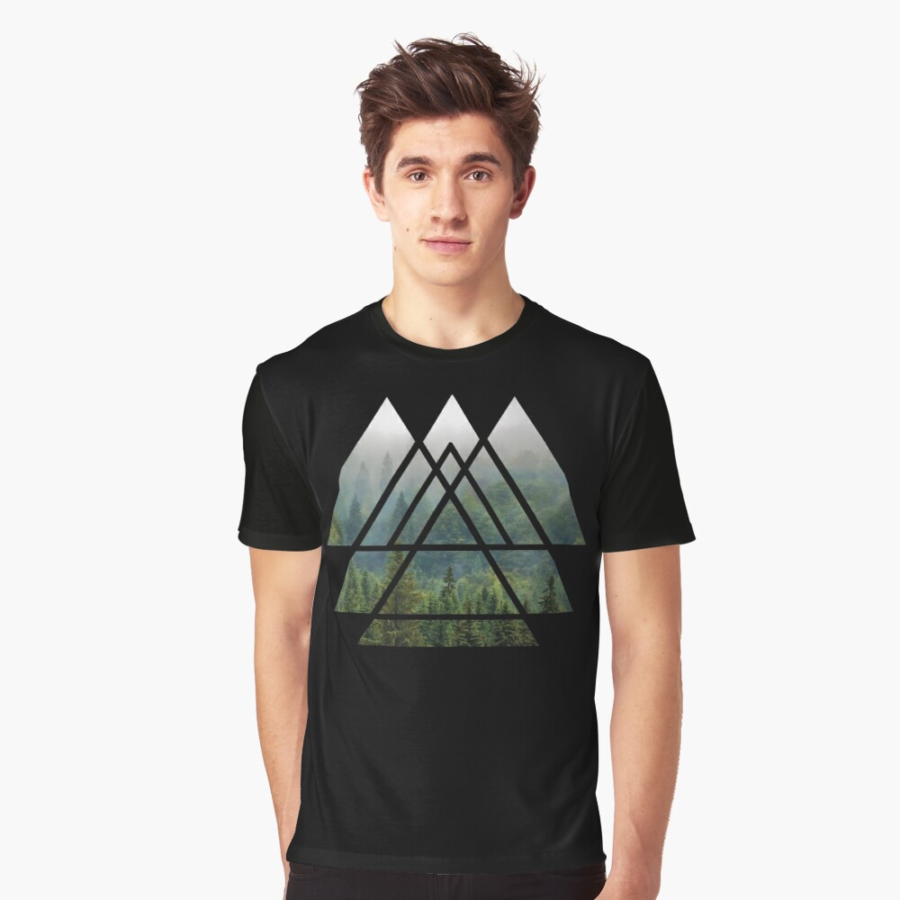 Sacred Geometry Triangles - Misty Forest Graphic T-Shirt Front