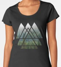 Sacred Geometry Triangles - Misty Forest Premium Scoop T-Shirt