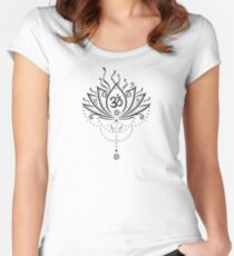 Lotus Blume, Yoga, black version Tailliertes Rundhals-Shirt