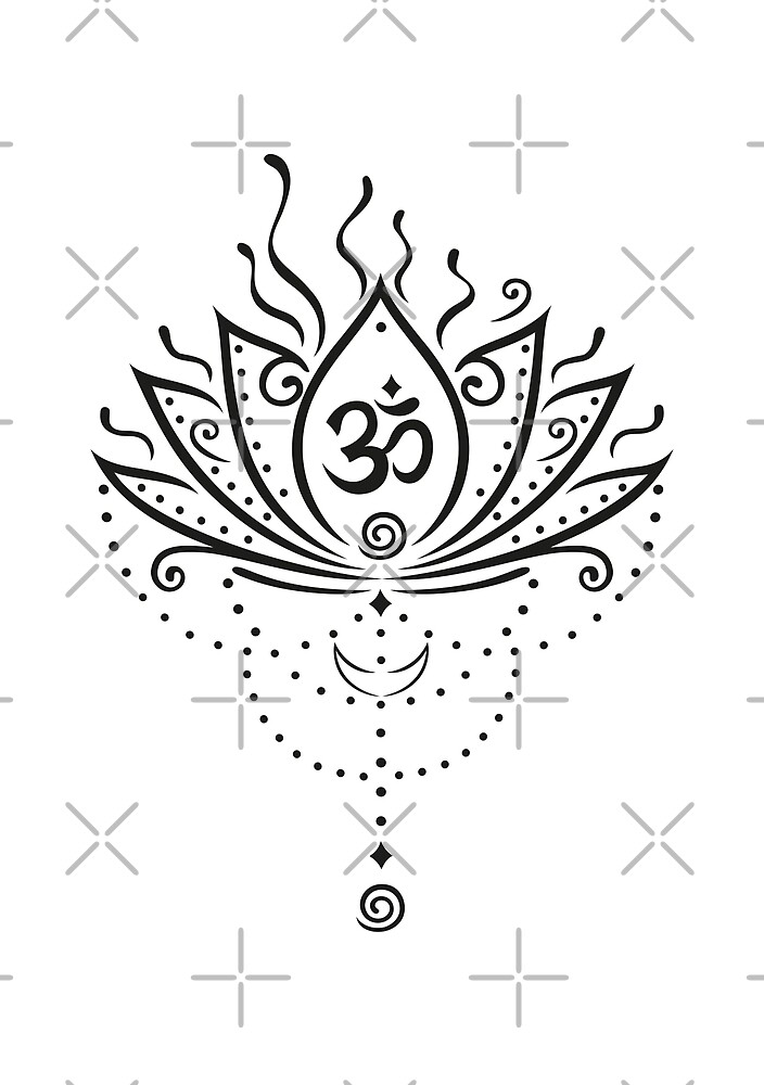 Lotus Blume, Yoga, black version von Christine Krahl