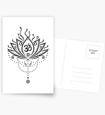 Lotus Blume, Yoga, black version Postkarten