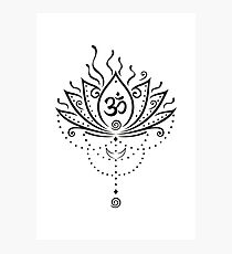 Lotus Blume, Yoga, black version Fotodruck