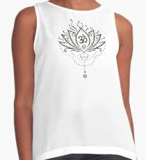 Lotus Blume, Yoga, black version Ärmelloses Top