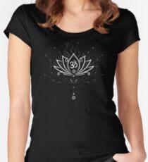 Lotus Blume, Yoga, white version Tailliertes Rundhals-Shirt