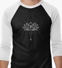 Lotus Blume, Yoga, white version Baseballshirt mit 3/4-Arm
