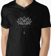 Lotus Blume, Yoga, white version T-Shirt mit V-Ausschnitt für Männer