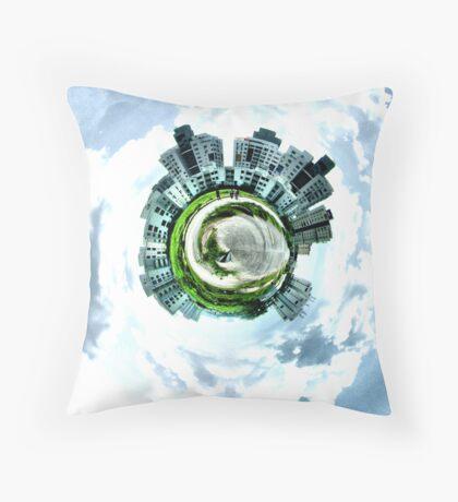 Little planet city Throw Pillow