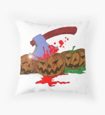 Halloween Pumpkin Massacre Throw Pillow