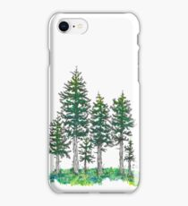 Watercolor and Ink Cypress Tree iPhone Case/Skin