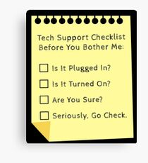 Tech Support Checklist Funny Helpdesk IT Engineer  Canvas Print
