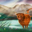 Hairy Coo at lochcarron ( non wide screen version )  by Vicky Stonebridge