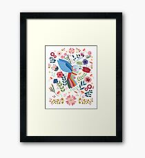 Folk Art Inspired Hummingbird In A Burst Of Springtime Blossoms Framed Print