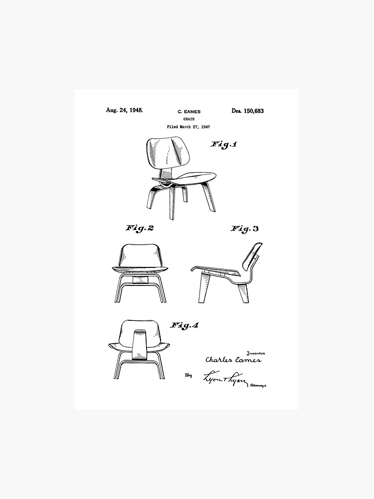 Iconic Eames LCW Molded Plywood Chair Patent Drawings | Photographic Print