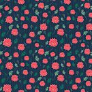 Pom Floral Navy and Coral by LemonLovegood